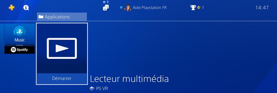 Utiliser le lecteur multimédia sur PS4