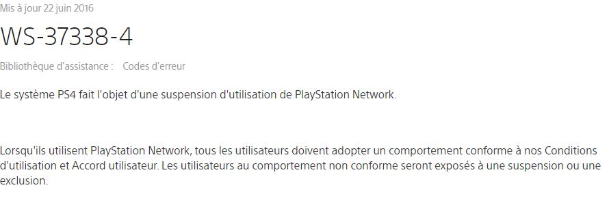 Que faire si nous sommes banni du PSN (PS4)